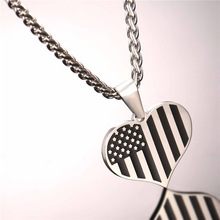 US Flag Necklaces & Pendants Gold Plated Stainless Steel USA American Chain For Men/Women Gift U7 Brand Hot Fashion Jewelry P721