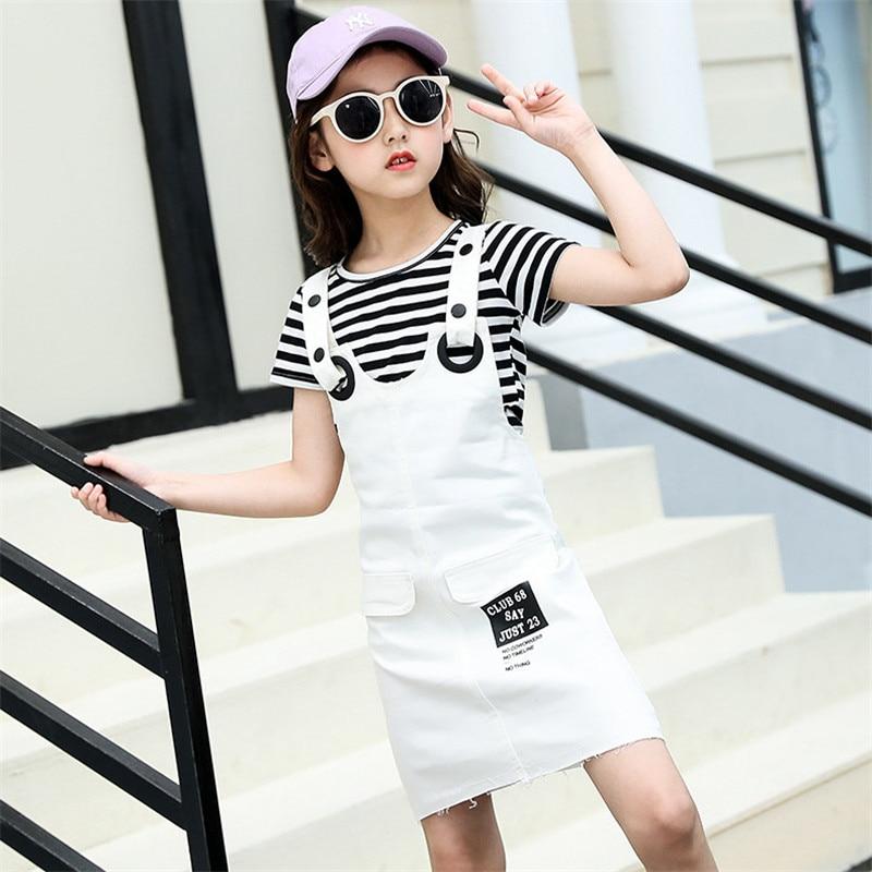 Girls Suspenders Dress 2 Pcs Set 2019 Summer Fashion Kids Stripe T-Shirts And Dresses Set For Girl 5 7 9 11 13 Year Clj144 38