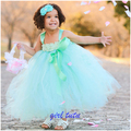 17 New Princess Mint Green Girl Flower Tutu Dress with Cute Flower headband  Girl Dresses Girl Dress For Birthday Party L004