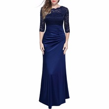 New Elegant Retro Ladies Lace Hollow Out embroidery sleeves Evening Maxi Dress Women Vintage Party Long Dresses Vestidos Robe