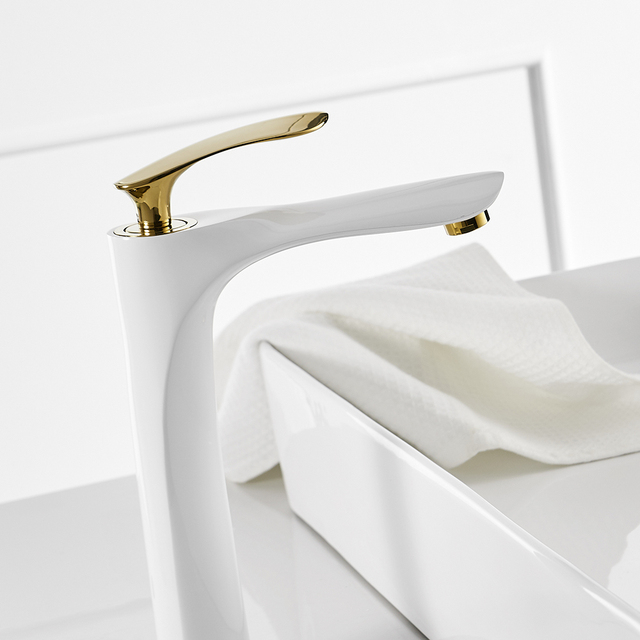 Basin Faucets White Color Basin Mixer Tap Bathroom Faucet Hot and Cold Chrome Finish Brass Toilet Sink Water Crane Gold 228