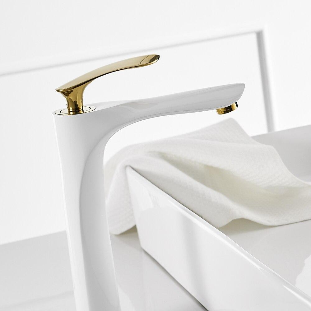 Bassin Robinets Blanc Couleur Bassin Mitigeur Salle De Bains Robinet D'eau Chaude et Froide Chrome Finition En Laiton Toilettes Évier D'eau Grue Or 228 - 3