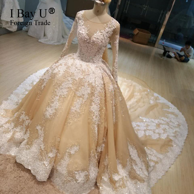 100% Real Wedding Dress Luxury Crystal Pearl Train Wedding Dress 2019 ArabicTop Fashion Lace Appliques Ball Gown Bride Dresses