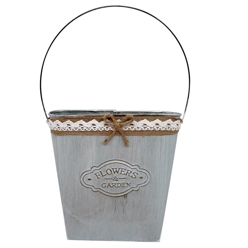 LUOEM Metal Hanging Planter Suculent Steel Tub with Hemp Rope Plant Holder Decor Hanging Flower Pots Hanging Baskets