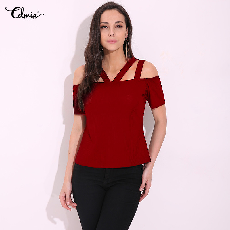 S-4XL Celima 2018 Summer Off Shoulder Tops Women Sexy Strap Short Sleeve Blouses Shirts Slim Fitted Solid Tops Tee Plus Size
