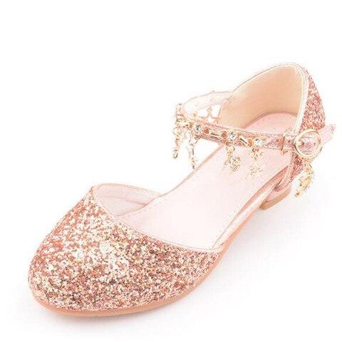 novas criancas sapatos de cristal alta salto