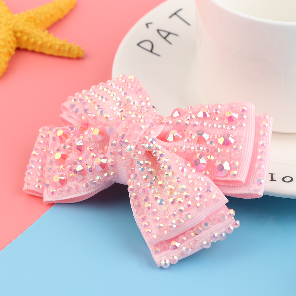 1PC 4 Grosgrain Ribbon Hair Bows With Rhinestone Lovely Bling With Hair Clips Hairpins Barrettes For Girls Hair Accessories