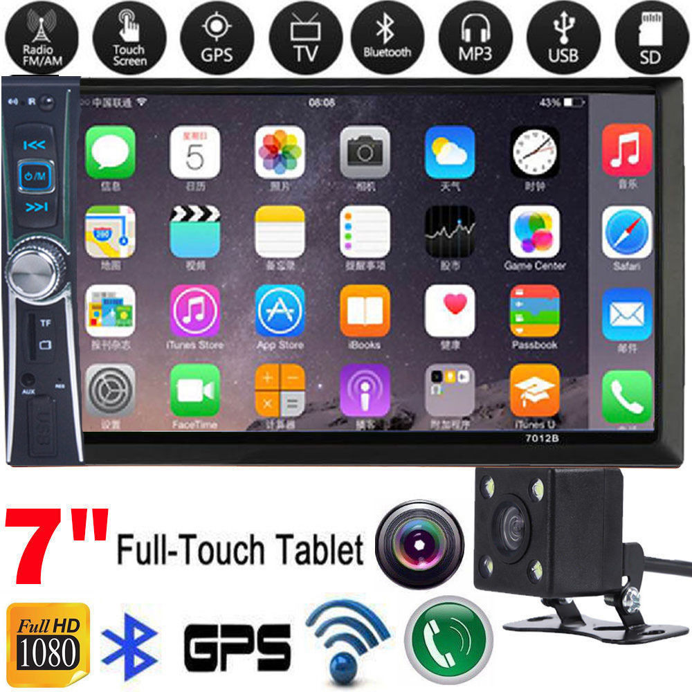 1PC GPS Navigation 7 LCD Stereo 2DIN Car DVD Player Touch Screen with Backup Camera with USB SD GPS Radio Black 7020g 7 touch screen 2 din car radio dvd mp5 video player rear camera bluetooth gps navigation steering wheel remote control