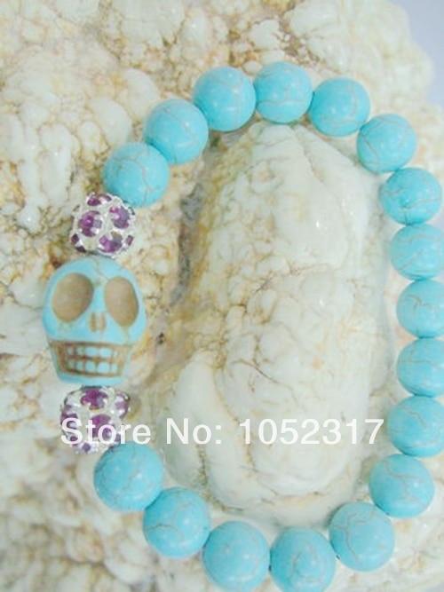 size 40 efe58 6f744 Nueva venta al por mayor 10mm piedra howlite bead incrustaciones cabeza del  cráneo del rhinestone bola pulsera elasticidad ajustable estilo
