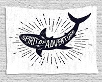 Shark Tapestry Spirit of Adventure Quote over A Fish Body Wildlife Motivational Grunge Design, Wall Hanging for Bedroom