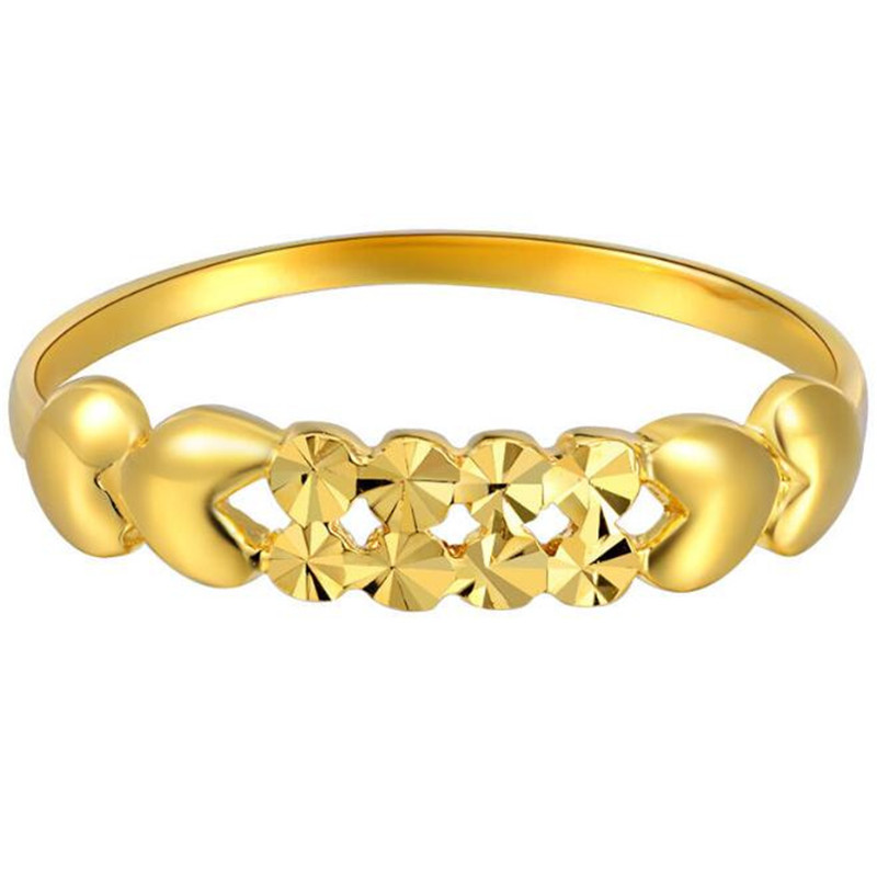 100% 18K Pure Gold Rings For Women Hollow Love Heart Trendy Wedding Rings Cutting Jewelry Wholesale anel feminino cheap pure titanium jewelry wholesale a lot of new design cheap pure titanium wedding band rings