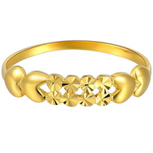100% 18K Pure Gold Rings For Women Hollow Love Heart Trendy Wedding Cutting Jewelry Wholesale