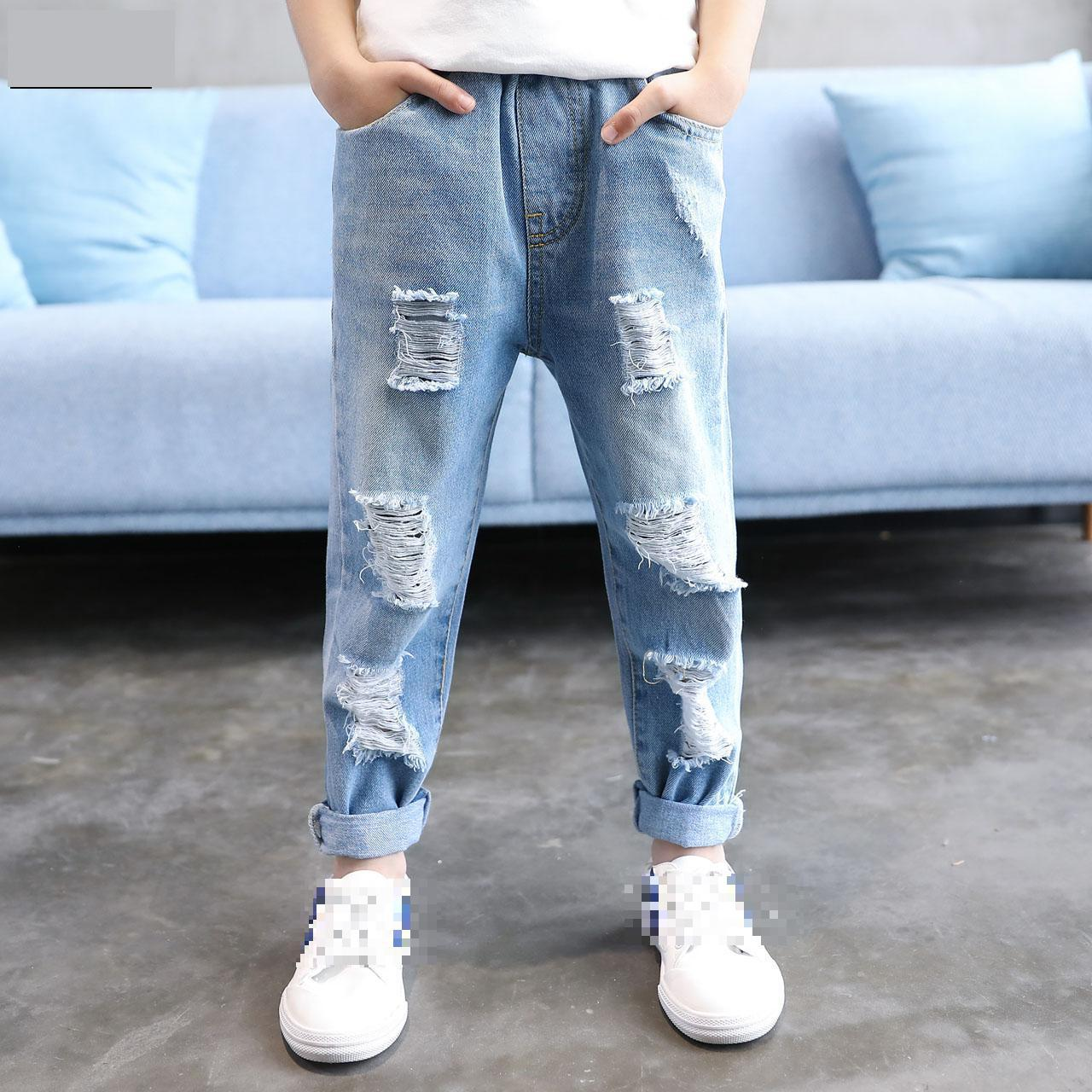 Children Broken Hole Pants 2017 Spring Jeans For Boy 4 5 6 7 8 9 10 11 12 13 Years Kids Ripped Jeans Baby Boy Soild Denim Pants high quality mens jeans ripped colorful printed demin pants slim fit straight casual classic hip hop trousers ripped streetwear