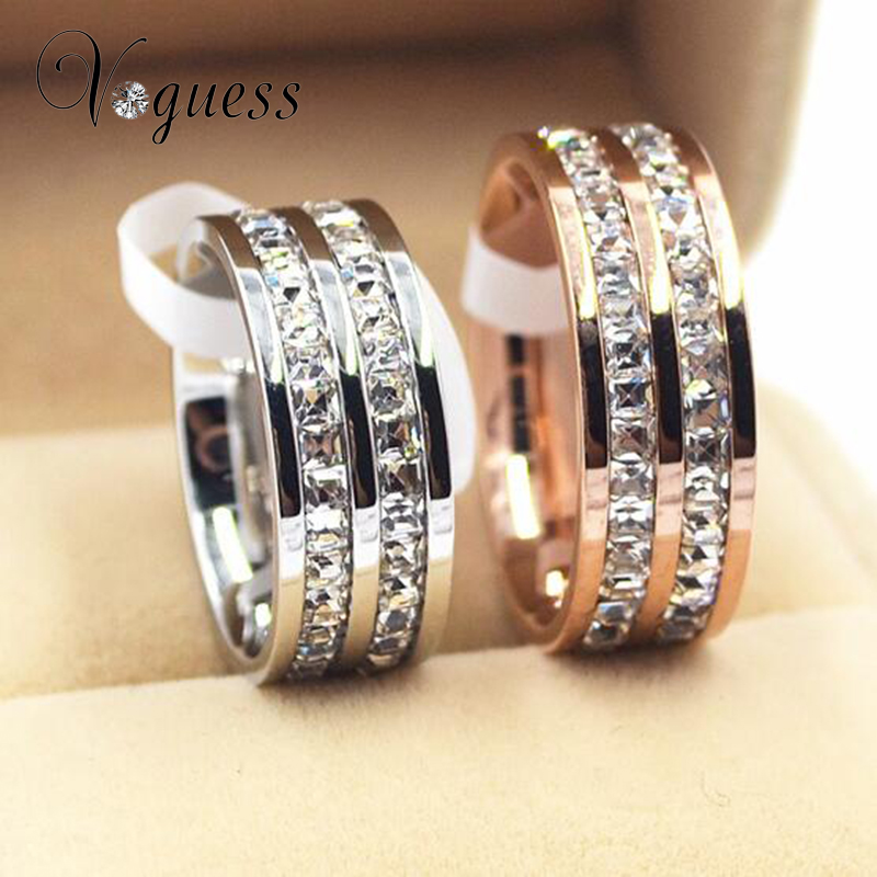 VOGUESS Brand Design Fashion Wedding Ring Rose Gold Ring Titanium Steel Rings For Women Summer Jewelry
