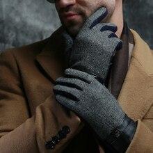 2016 autumn winter men new classic  Belt Buttons soft lining touch screen England cotton driving warm sheepskin gloves mittens