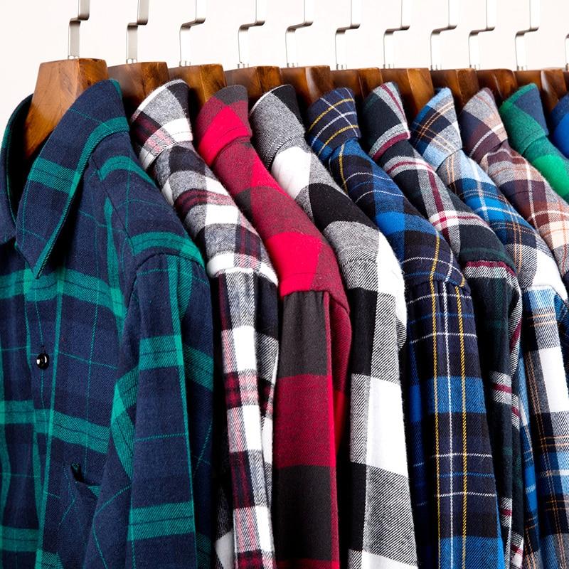 Menns 100% Cotton Casual Plaid Skjorter Pocket Langermet Slim Fit - Herreklær - Bilde 2