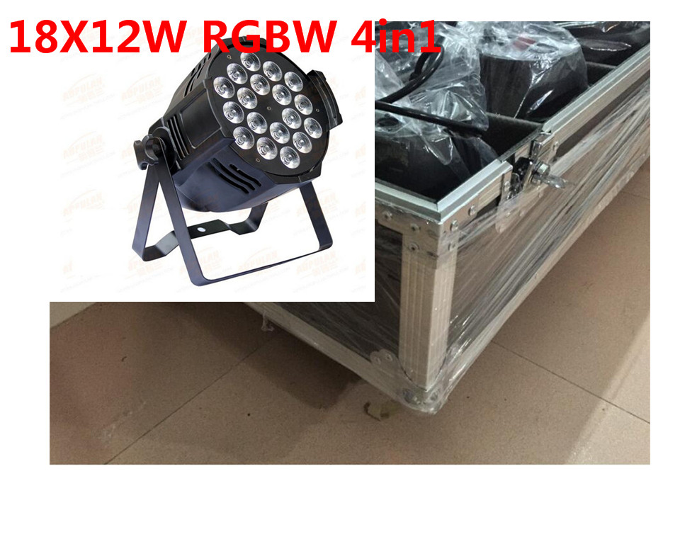 8 X18x12 W LED Par Luces con flight case 1 Llevo la Luz de Par RGBW 4in1 LED Par DMX 6/8 Canales Led Flat Par LED de Lujo luces 2x h7 led faro bombillas alquiler de luces led 120w 12000lm led lampara con la viruta del cob para el coche vehiculo no canbus