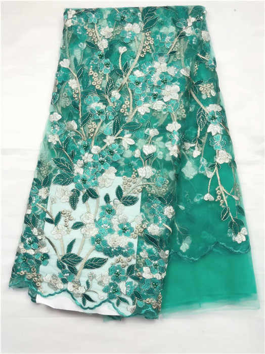 Фото Последние Зеленые французские кружева ткань с кружевная бусинами для свадебной