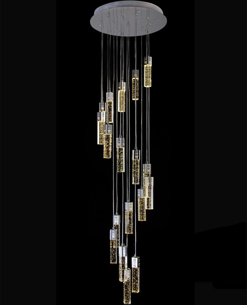 Vão das escadas led lustre de cristal longo luminárias 18 luzes 220cm lustres de cristal 54W led strip longo lustre de vão das escadas