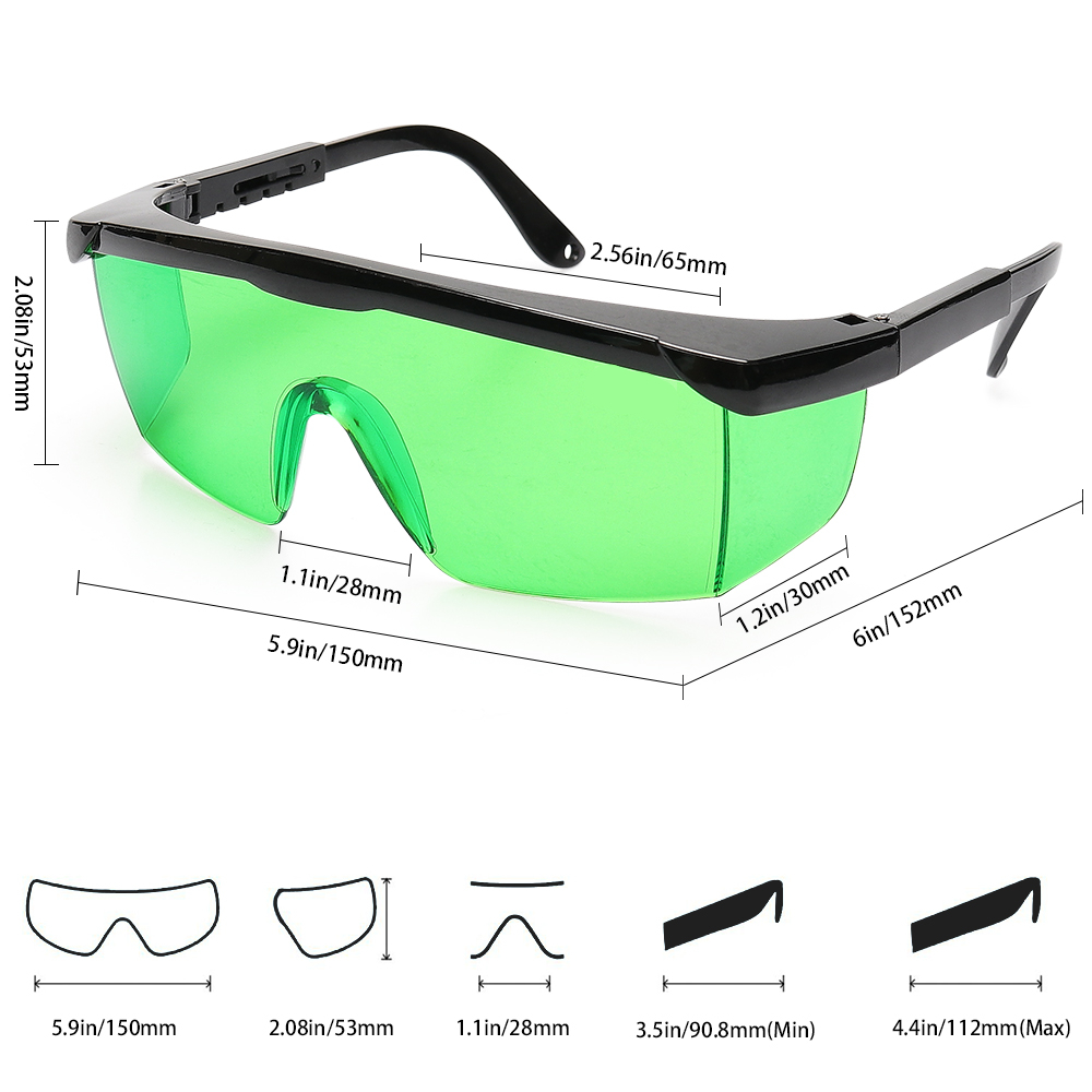 Huepar Safety Laser Enhancement Glasses Green Adjustable Protection Eyewear Goggle Glasses With Hard Case For Line Rotary Lasers in Instrument Parts Accessories from Tools