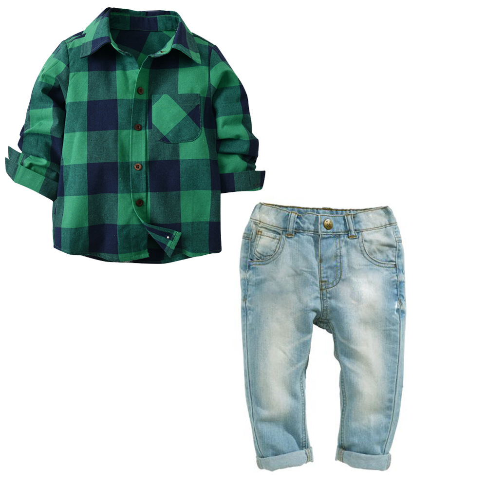 Toddler Jeans Suit Set Baby Boy&Girl Clothing Sets Long Sleeves Green Kids Outfit Casual Children Clothing Washed JeansToddler Jeans Suit Set Baby Boy&Girl Clothing Sets Long Sleeves Green Kids Outfit Casual Children Clothing Washed Jeans