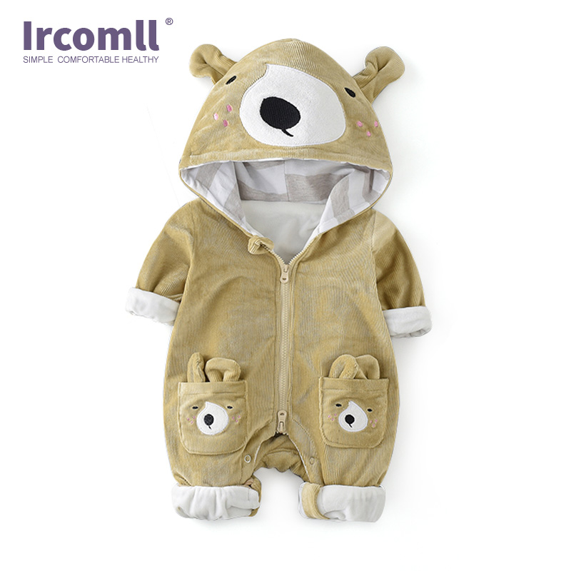 Ircomll Infant Baby Autumn Winter Clothing Newborn Boys Girls Rompers Corduroy Cartoon Thicken Hooded kid Jumpsuits Toddler Outw