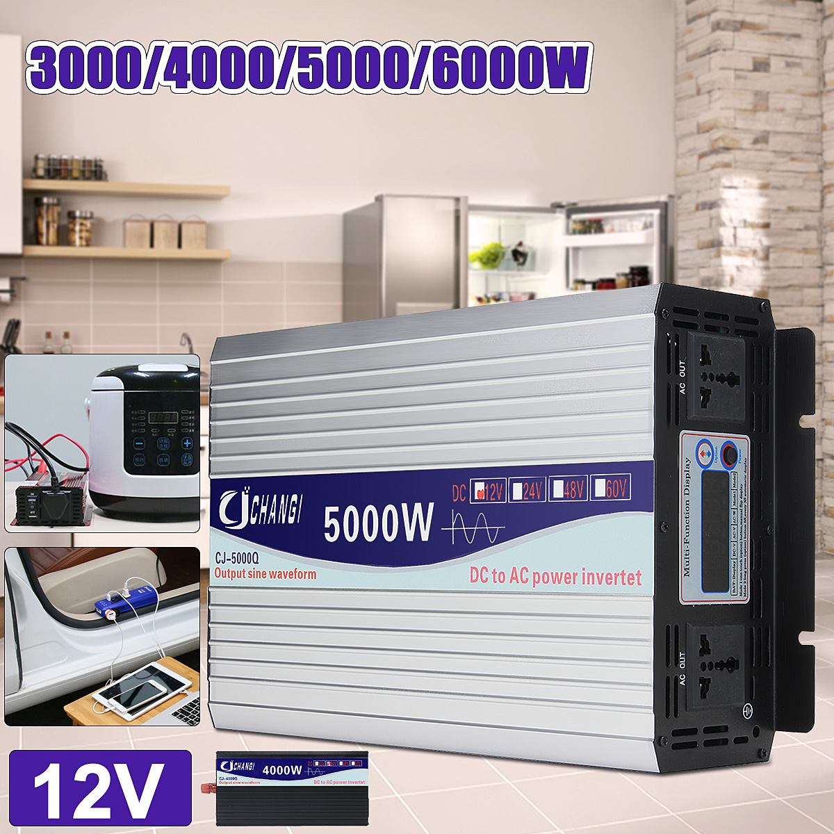 Интеллектуальный Экран Чистая синусоида Мощность инвертор DC12V DC24V к AC220V 3000 Вт-6000 Вт преобразователь с ЖК-дисплей Дисплей