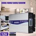 Inteligente de pantalla inversor de potencia de onda sinusoidal pura DC12V DC24V a AC220V 3000 W-6000 W convertidor con pantalla LCD