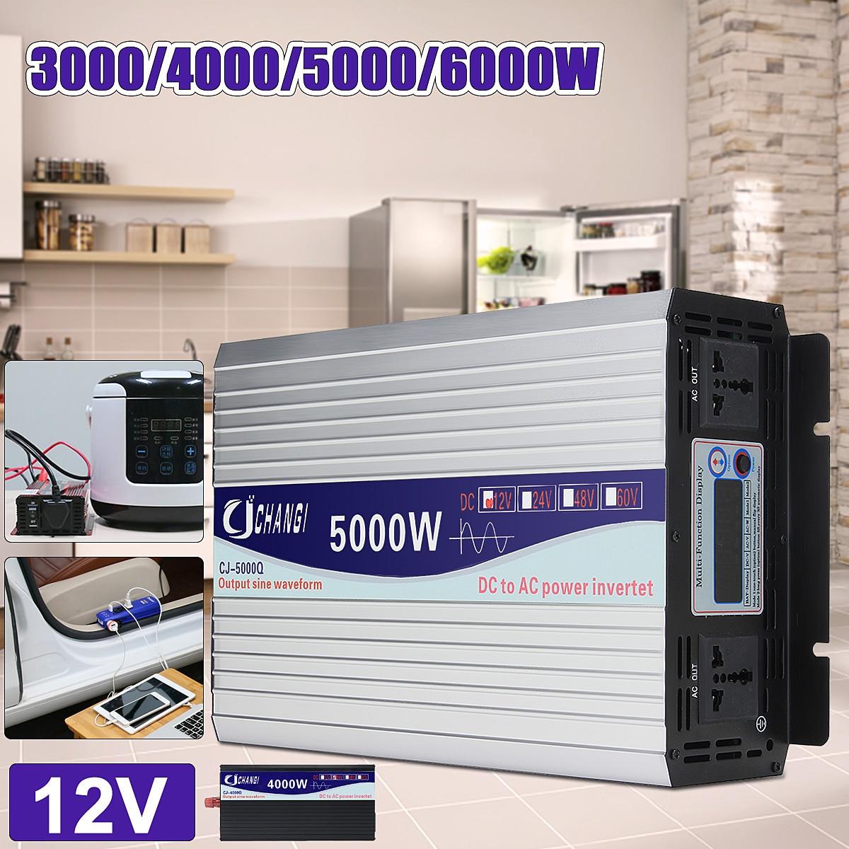 Intelligent Écran Pur Puissance D'onde Sinusoïdale Onduleur DC12V DC24V à AC220V 3000 w-6000 w Convertisseur Avec Écran LCD