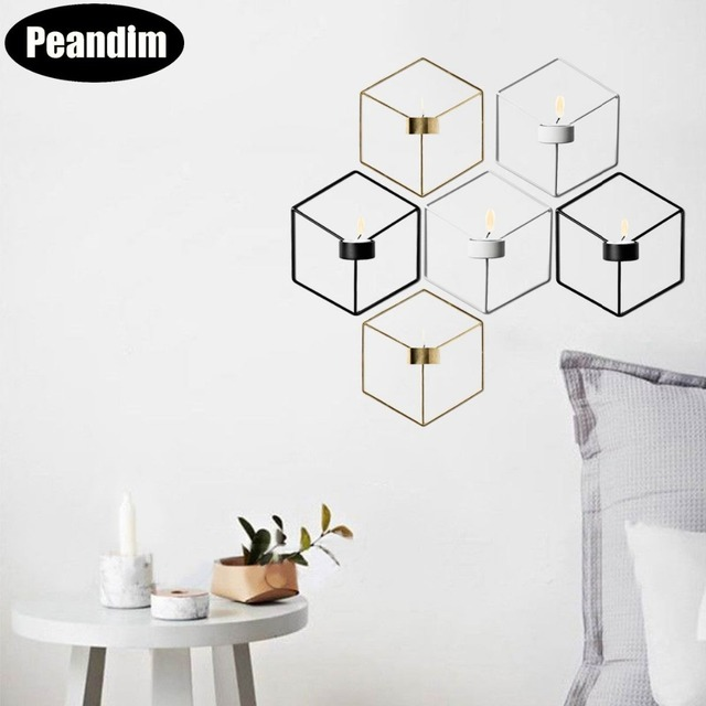 Peandim Nordic Style Wall Candle Holder Minimalist 3D Geometric Candlestick Ornaments Sconce Small Tealight Home Decoration