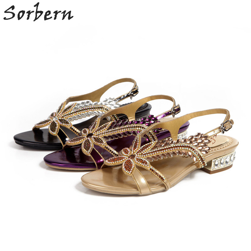 Sorbern Sandalias Mujer 2018 Women Crystal Sandals 2.5CM Heels Plus Size In Stcok Party Shoes Sandalias Mujer Hot Sale Shoes sorbern plus women sandals deep purple zipper spike heels sandalias mujer 2017 summer shoes women large size shoes women 43
