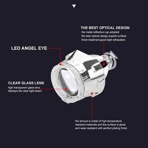 Image 2 - Lentille de projecteur au xénon HID, 2.5 pouces, avec masque argenté, yeux dange, Led H7 et H4, phares par prise H1, ampoule HID, LHD, RHD, décoration de voiture