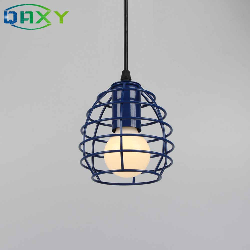 lowest price New Antique Green Red Blue Pendant Light Loft Droplight Fixture Iron Cage Pendant Lamp Hanging Dinning Room Fitting Light D1620