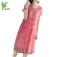 Summer dresses for women 2018 Short sleeved print dress silk Chiffon plus size dresses female Loose waist Beach long dress A1816
