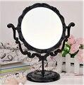 Mejor venta de 360 grados girar espejo con luz espejo cosmético doble cara negro 9.8 pulgadas de Escritorio Espejo De maquillaje Espejo Del Baño