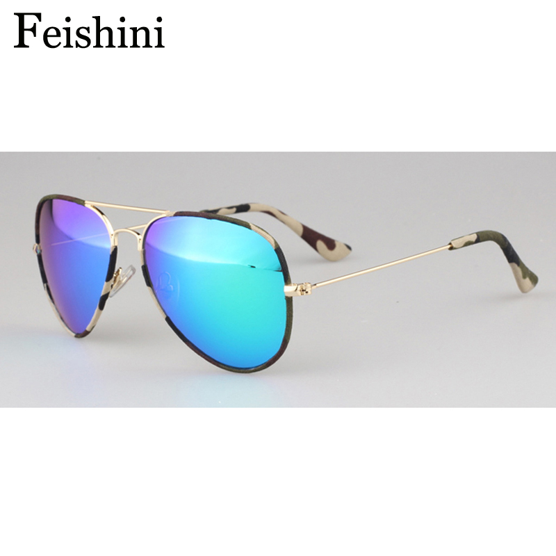 FEISHINI High Quality Shop Counters Pilot Sunglasses Women Brand Designer Original Mirror Steampunk Mirror Eye Glasses Men UV400