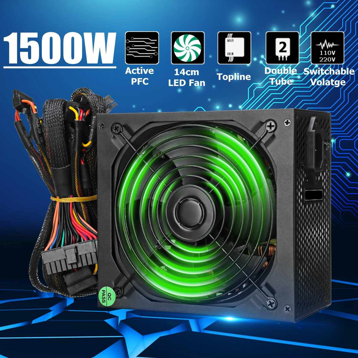 1500W PC Power Supply For Computer Active PFC Computer PC PSU 24Pin SATA LED Cooling Fan 80 Plus1500W PC Power Supply For Computer Active PFC Computer PC PSU 24Pin SATA LED Cooling Fan 80 Plus