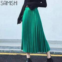 Saimishi демисезонный Модные женские Высокая талия однотонная плиссированная Половина Длина эластичная юбка акции леди черный, розовый серый