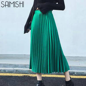 Saimishi Women's High Waist Pleated Half Length Skirt Black