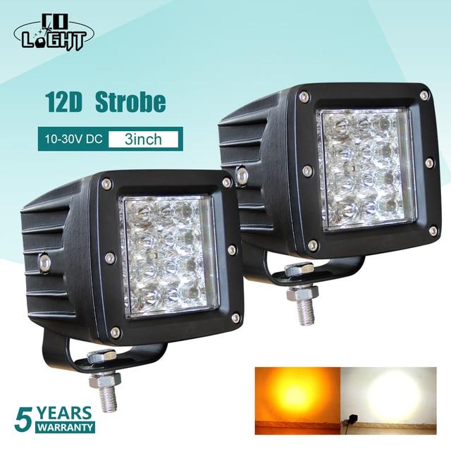 Đồng Sáng 3 Inch 12D LED Worklight 48W Đèn Nhấp Nháy Hổ Phách Trắng Đèn Làm Việc Cho Xe Máy Kéo Xe LADA lái Xe Sương Mù 12V 24V
