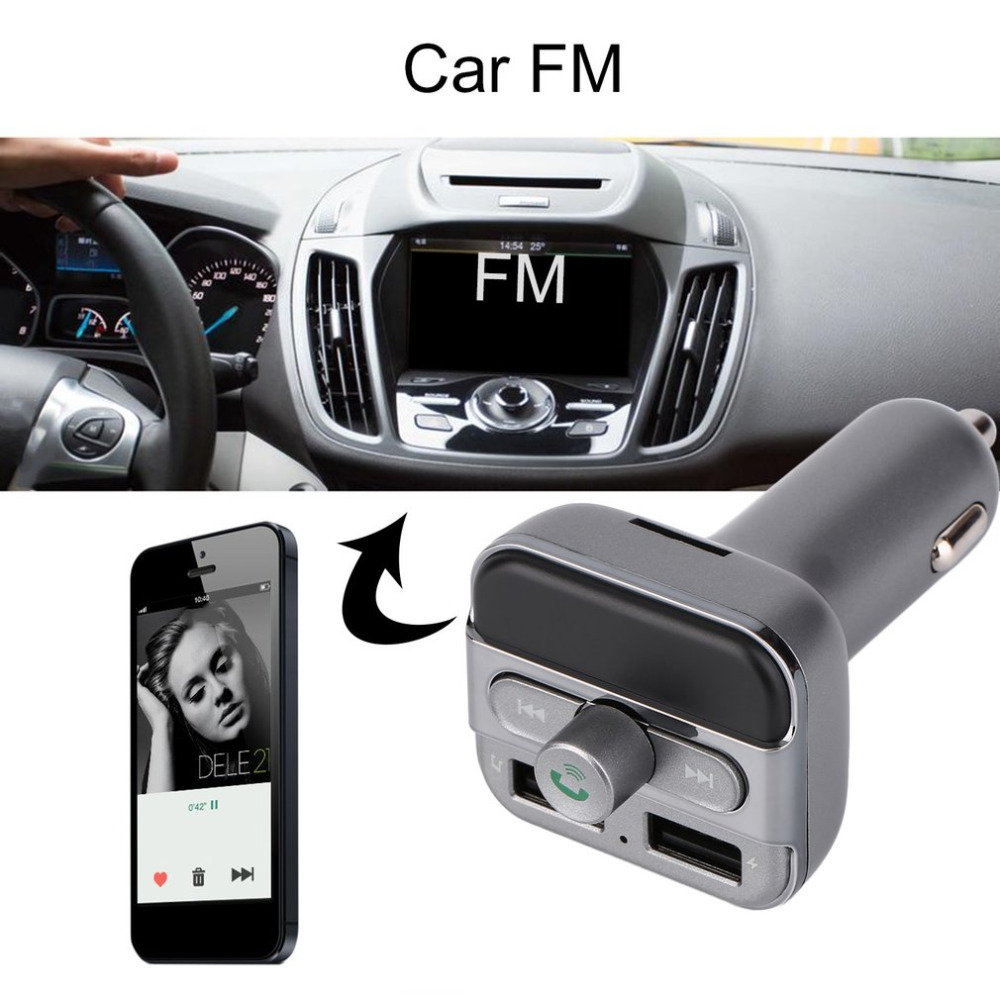 i6 BT Car Kit MP3 Bluetooth LCD FM Transmitter With Hands-Free Dual USB Charger