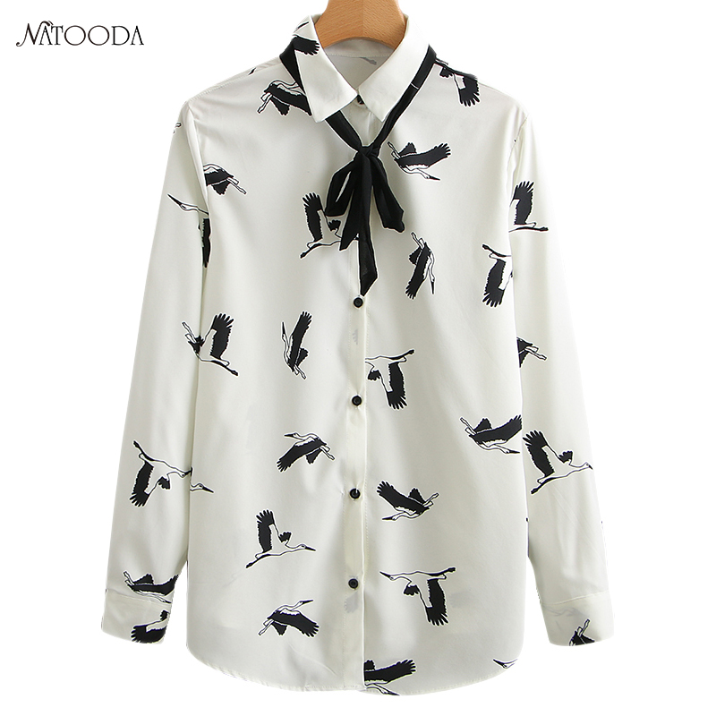 NATOODA 2018 Fashion Flying Crane Print White Blouse Women Stand Collar Shirts Tie Long Sleeve Casual