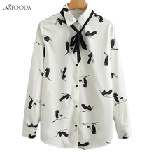 NATOODA 2018 Fashion Flying Crane Print White Blouse Women Stand Collar Shirts Tie Long Sleeve Casual Women Tops Blusas XY3011