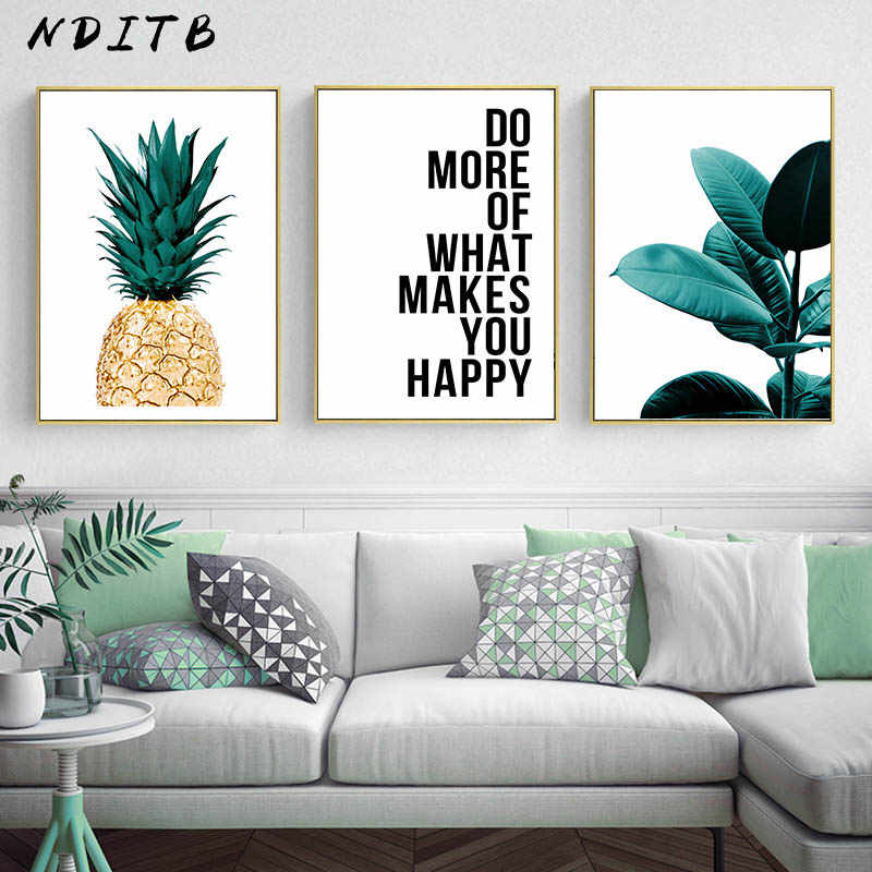 Scandinavian Pineapple Leaf Wall Art Poster Nordic Motivational Quotes Canvas Botanical Print Painting Nordic Decortion Picture