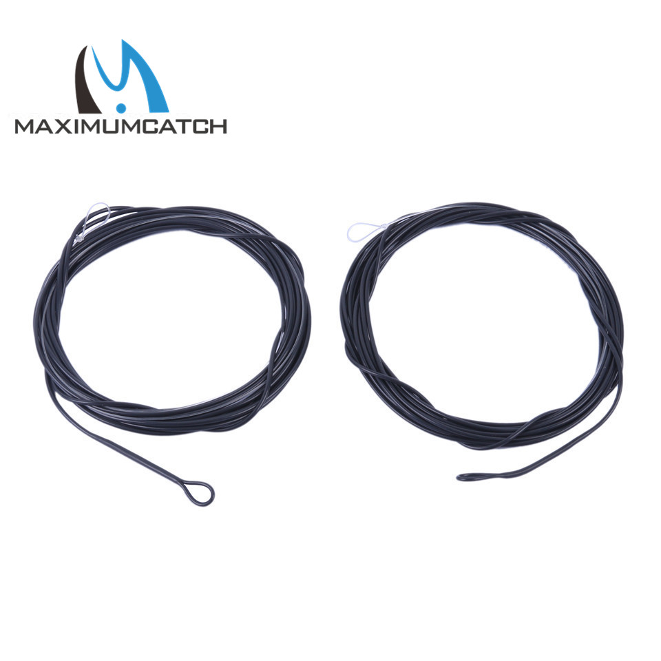 Maximumcatch 2pcs 5-10ft 10-25lb Color negro Pesca Poly Leader 6ips Sinking líder