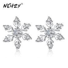 NEHZY-pendientes de plata de primera ley con copos de nieve para mujer, aretes, plata esterlina, Flores retro, diseño moderno