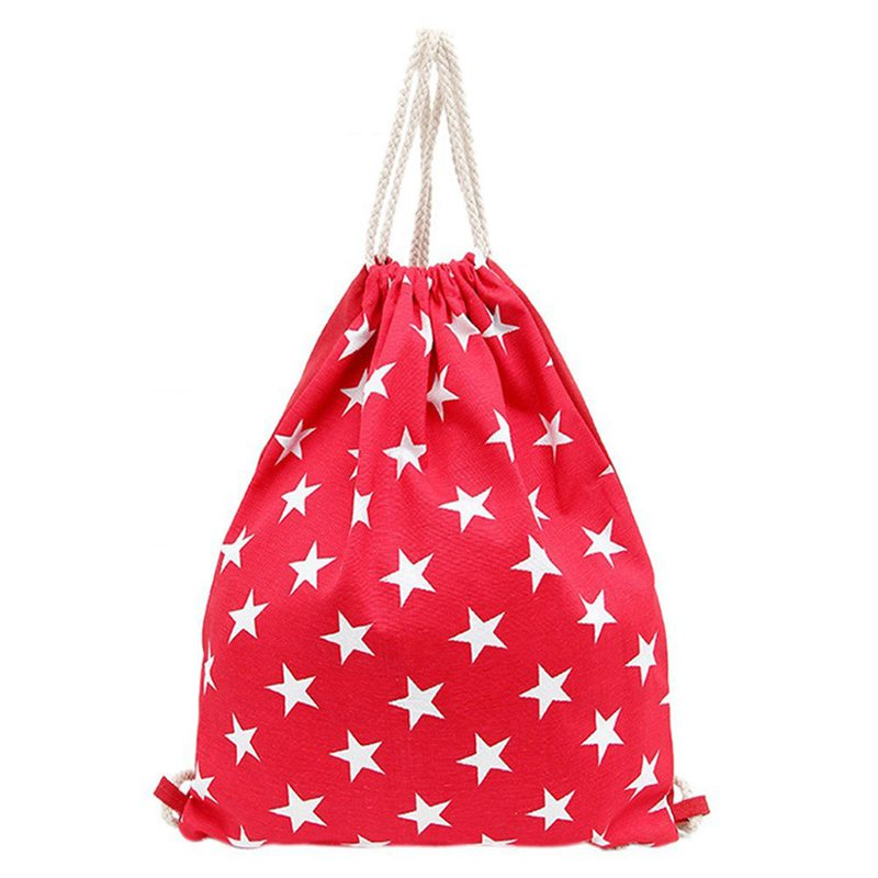 Storage Bag Luggage Portable Travel Drawstring Durable Starry Backpack (Red)