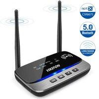 VIKEFON 262ft Long Range 5.0 Bluetooth Audio Transmitter Receiver NFC aptX HD apt X Low Latency Wireless Adapter for TV PC Car