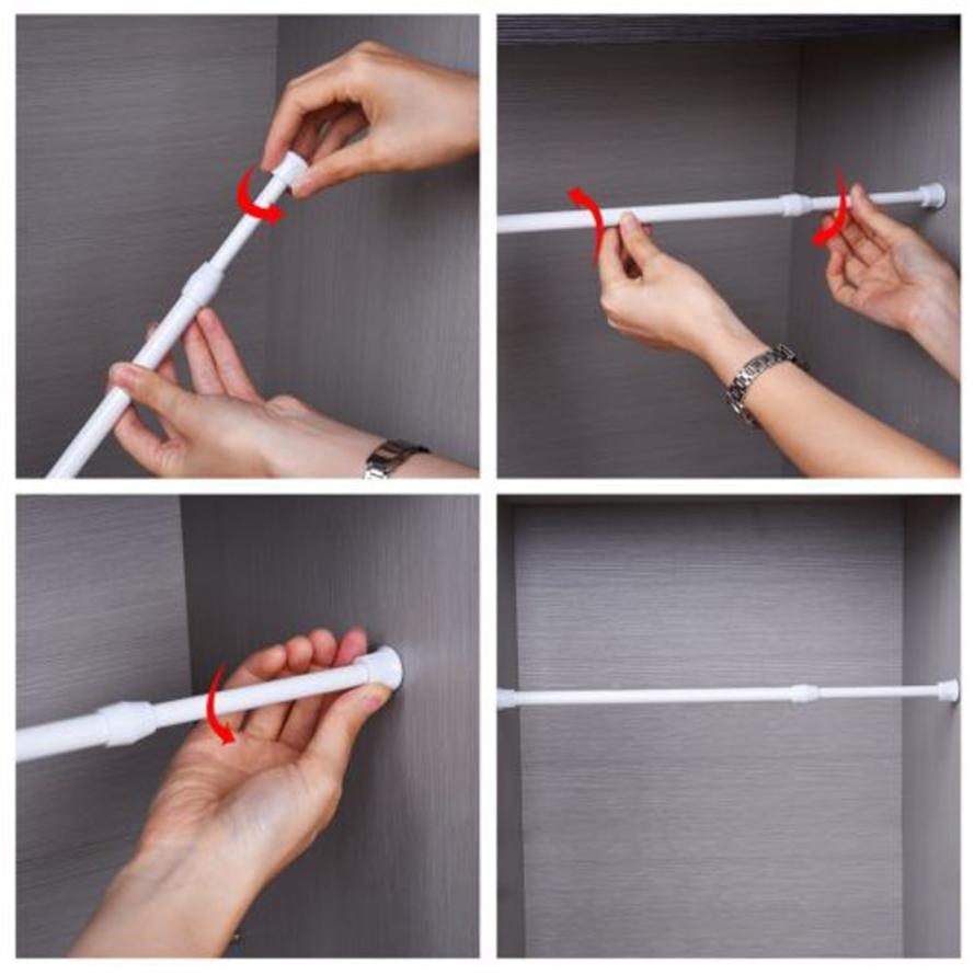 Alloy Spring Loaded Extendable Telescopic shower curtain Rail pole extend window curtain Rod/Cabinet Closet Rods Rack shelf sticker