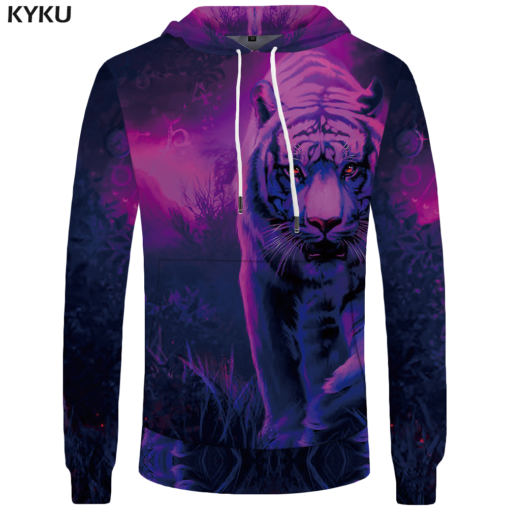 KYKU Tiger Hoodies Men Funny Hoddie Anime Sweatshirts Mens Clothing Big Size Sweatshirt 3d Hoodies Tracksuit Sweat shirt